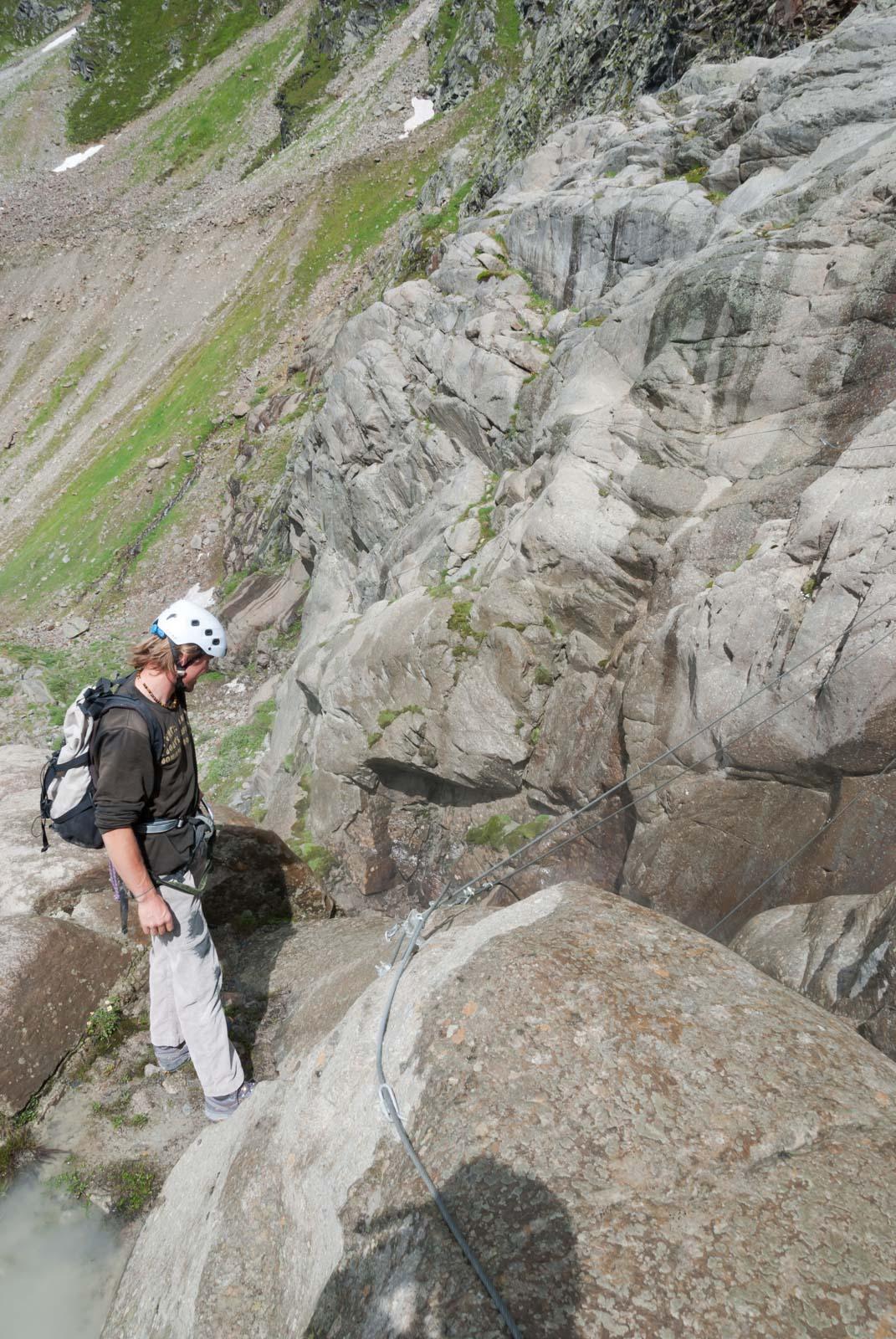 Pitztaler Steinbock Klettersteig Seilbrücke Wasserfall